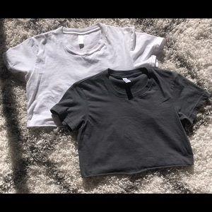 Two American apparel crop tops